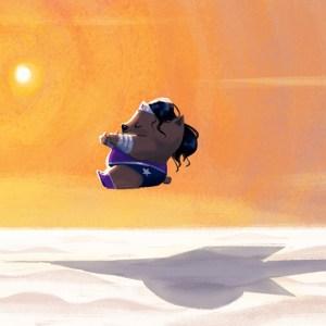 Wonder Wombat takes to the skies.