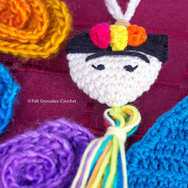 Colgante Frida Kahlo Fefi Gonzalez Crochet