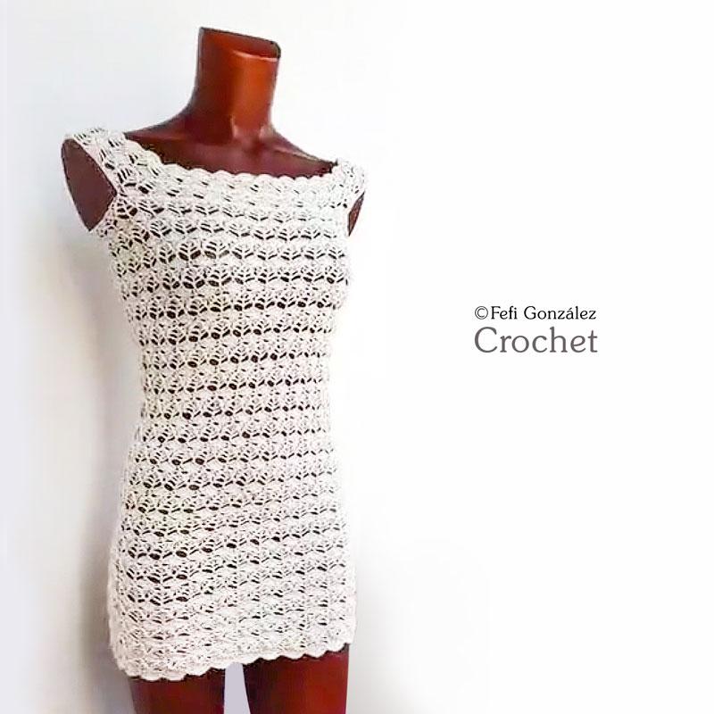 Vestido ajustado realizado por Fefi González Crochet