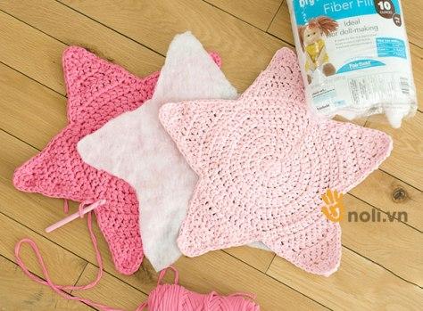 Học cách móc gối tựa lưng bằng len hình ngôi sao