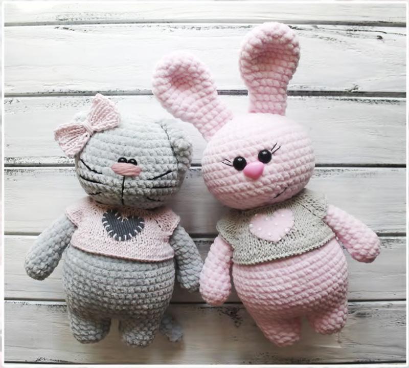 Móc cắp đôi mèo và thỏ bằng len nhung siêu đáng yêu