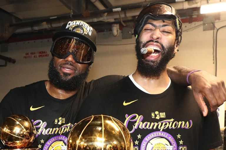 LBJ and AD celebrating their title.