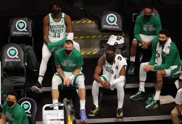 Shows the Celtic's lowest point of the season after an awful loss to the Atlanta Hawks in late February