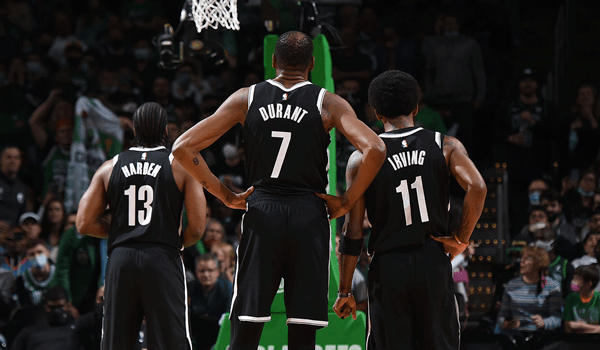 Nets starters Kevin Durant, Kyrie Irving and James Harden