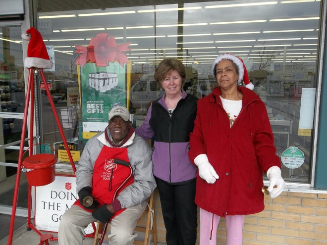 Bell Ringing for the Salvation Army.  Isaiah, Maryann and Diane giving some holiday cheer!!