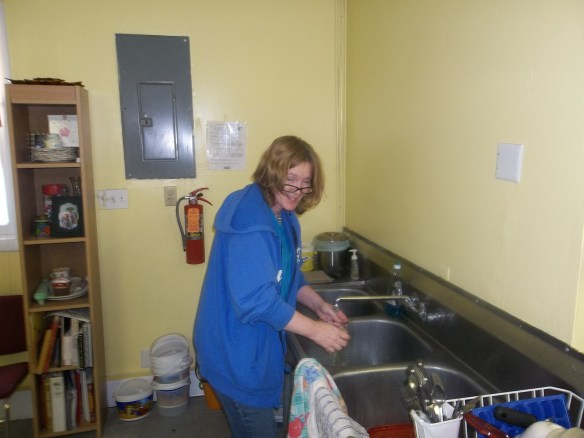 Well, well, well, Rachel is working...you don't say! (Rachel says it's not every Executive Director that washes dishes!!)