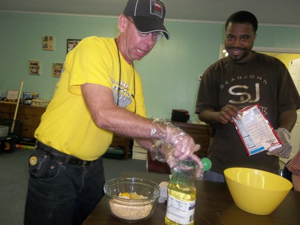 David mixing the ingredients - don't forget anything David!