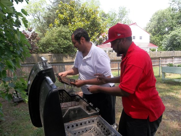 """My O My.......guys cooking to hard!  ""-  Amy   Here we are getting grill ready for our Memorial Day cook out!"