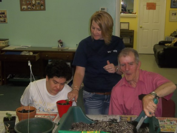 Jackie, Suzie and Beth working on our indoor plants.   We are rooting some new plants and giving other some TLC for our upcoming plant sale in the Fall.