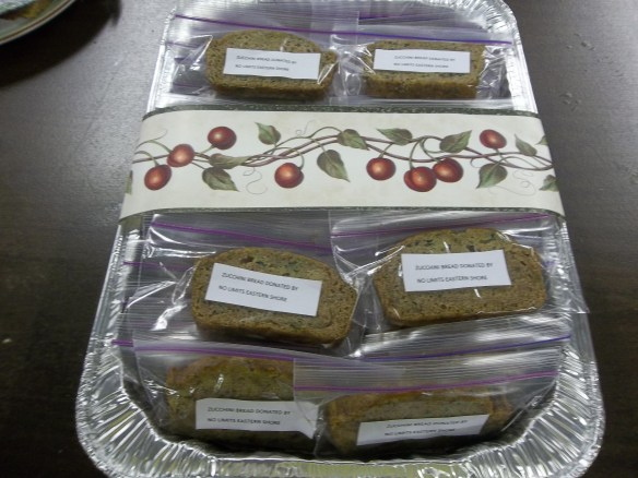 "We baked and packaged Zucchini bread for the ""Dash for Hope"" dinner at the Onancock UMC!"