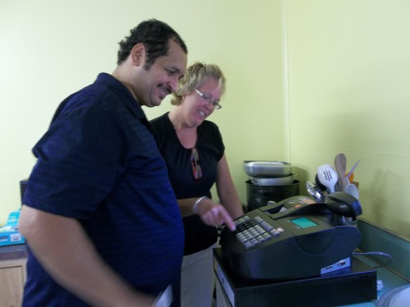 But first she helped set up our new cash register for us - thanks Cheryl!! Zel's got it now!