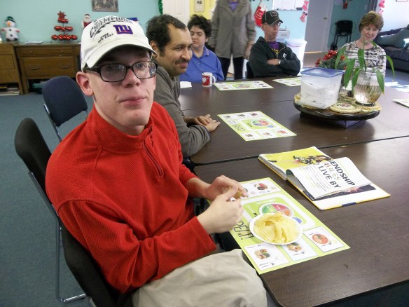 Here is Brandon at the Foodbank workshop. Brandon says know how much fat and sugar is in your food!