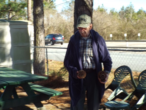 Larry enjoyed picking up pine cones in the yard, he says he likes to keep his mind occupied.