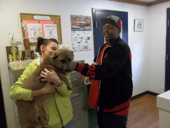 Andre and one of the pooches at Animal Control.