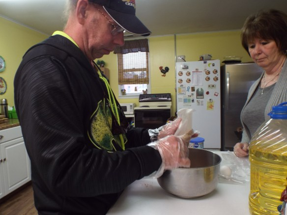 David and Maryann making a cake for Zel's birthday!