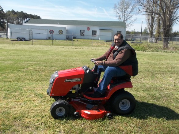 Zel on the new mower - turns out he's a Master of Mowing!!