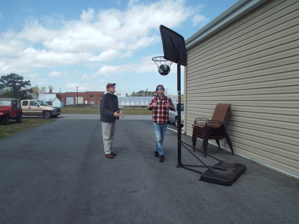 Rachel & John donated a basketball hoop to us. We like shooting hoops!