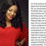 LOL! Actress Shirley Igwe Owing N10,000 For Goat Meat… refuses to pick calls