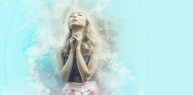 A young girl is fervently praying the desires of her heart. There is a blue background with white, wispy clouds around just her body.
