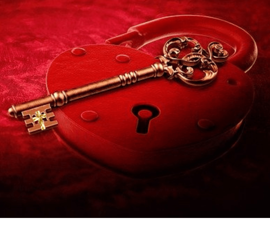 This is a red heart lock with a gold key with a cross over it to represent the key to fear.