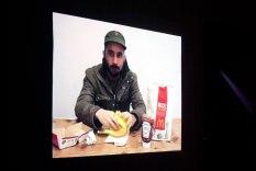 """""""Eating a hamburger. (After Andy Warhol)"""" - José Joaquín Figueroa"""