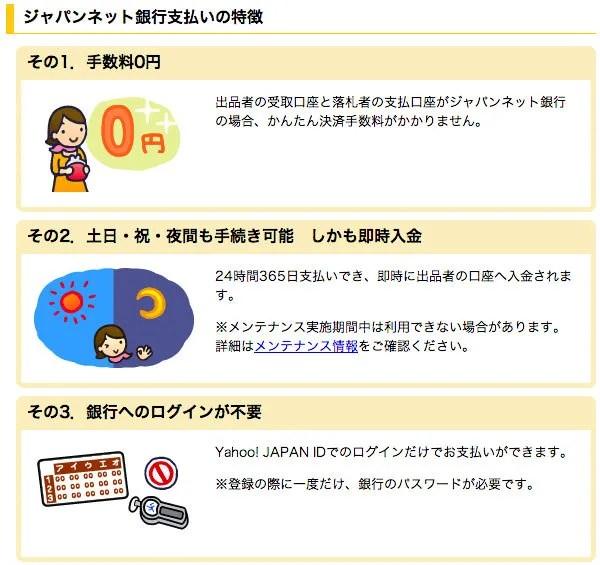Yahoo かんたん決済 ジャパンネット銀行支払い 落札者編