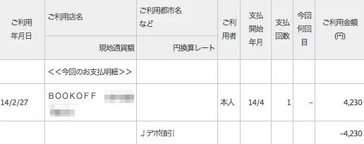 REXカードのJデポ割引 2014年4月