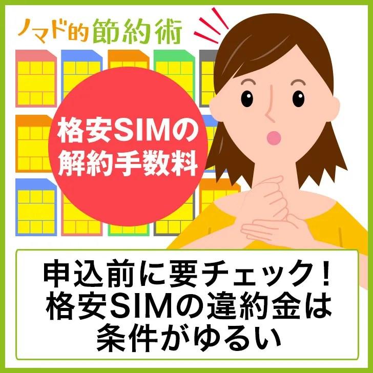 格安SIMの違約金について