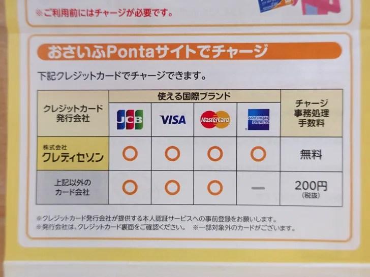 おさいふPontaのクレジットカードチャージ