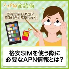 格安SIMを使う際に必要なAPN情報とは?設定方法をOS別に画像付きで解説します