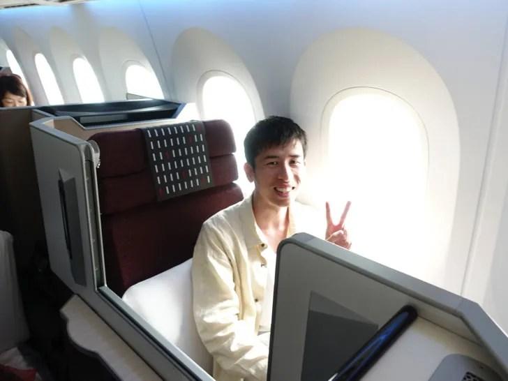 JAL国際線ビジネスクラス 自分の写真