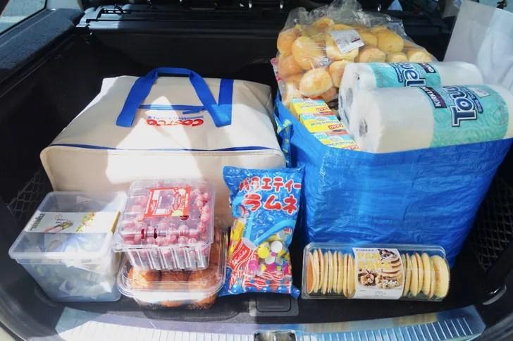コストコのクーラーバッグ(保冷バッグ)(コストコで買ったものを車のトランクに積んでいる様子)