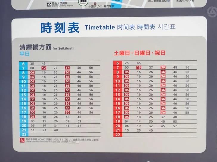 岡山電気軌道 時刻表 清輝橋線