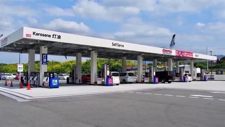 コストコのガスステーション(ガソリンスタンド)(スタンドの入り口)