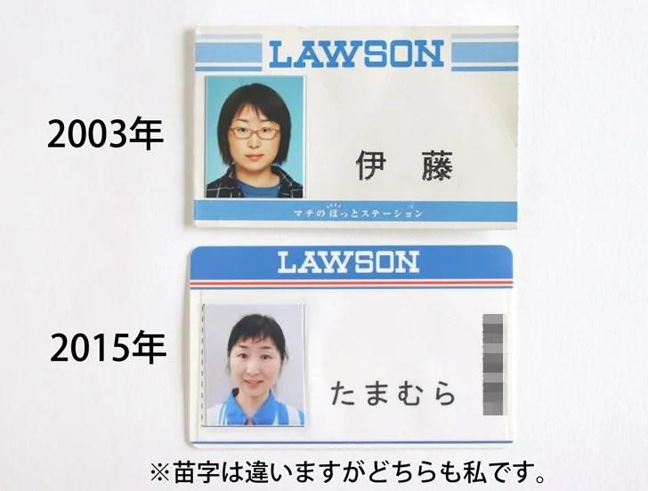 ローソンバイトの写真付き名札