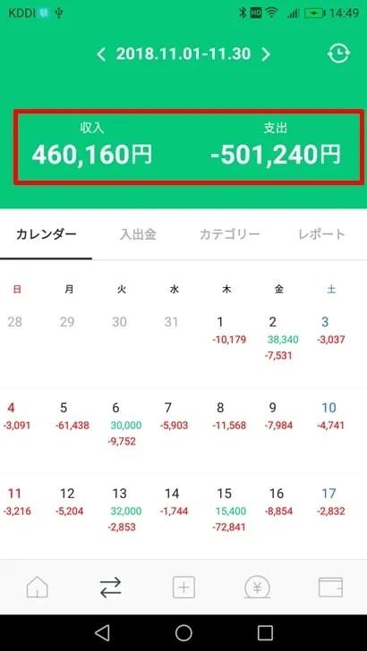 【LINE家計簿】収入と支出