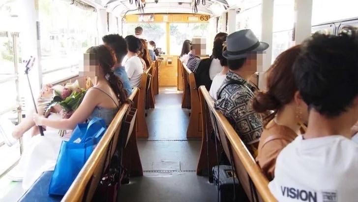 ハワイ・オアフ島のHISのレアレアトロリー(バスの座席)