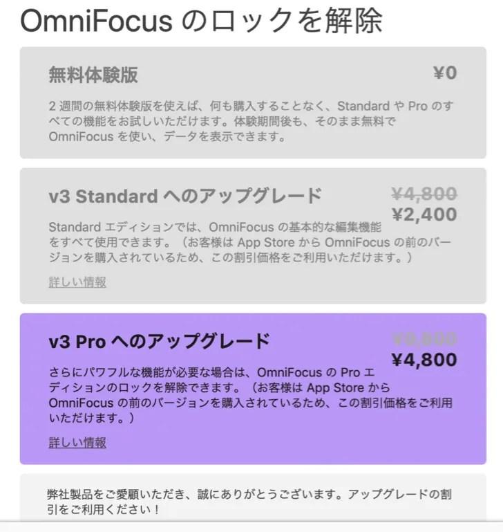 OmniFocusの購入画面