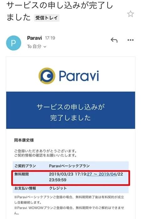 【Paravi】無料期間