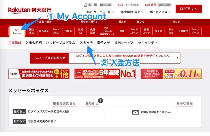 楽天銀行にログインして入金方法を選ぶ