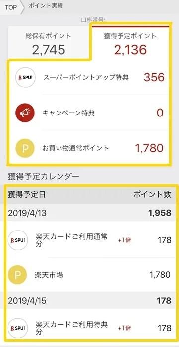 【楽天スーパーポイント】獲得スケジュール