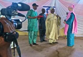 Left:Chief Gbenga Oludemi, President Center: Omo-Oba Sam Ogundogba, Chairman Board of Trustees