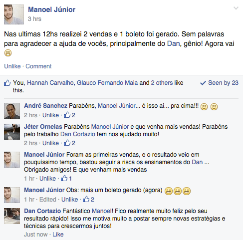 Depoimento do Manoel Júnior no Facebook