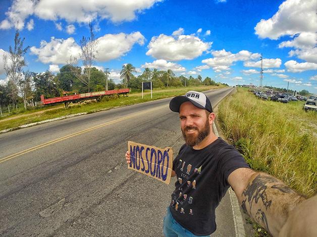 No Rio Grande do Norte pedindo carona para Mossoró