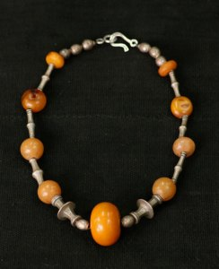 Tuareg antique silver and amber necklace