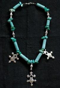 Tuareg crosses, antique silver necklace