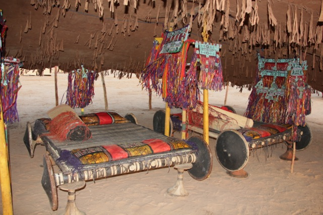 Sleeping in style.  Three huge Tuareg beds were in each tent.