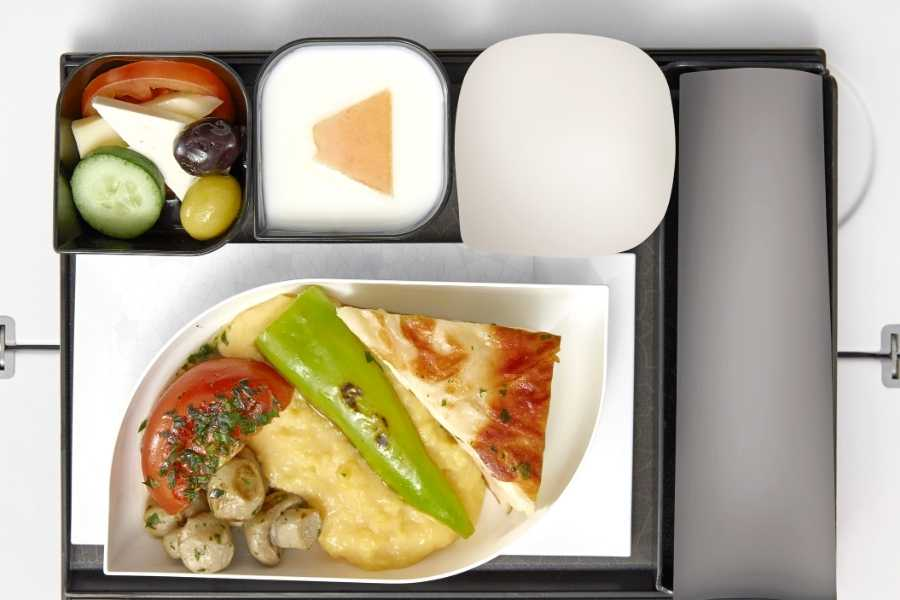 Being busy inside an airplane food