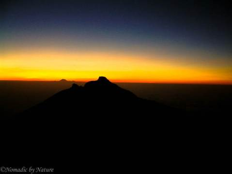 The First rays of light over Mount Agung