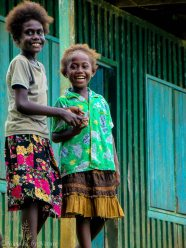 Girls Hanging out at School in Choiseul